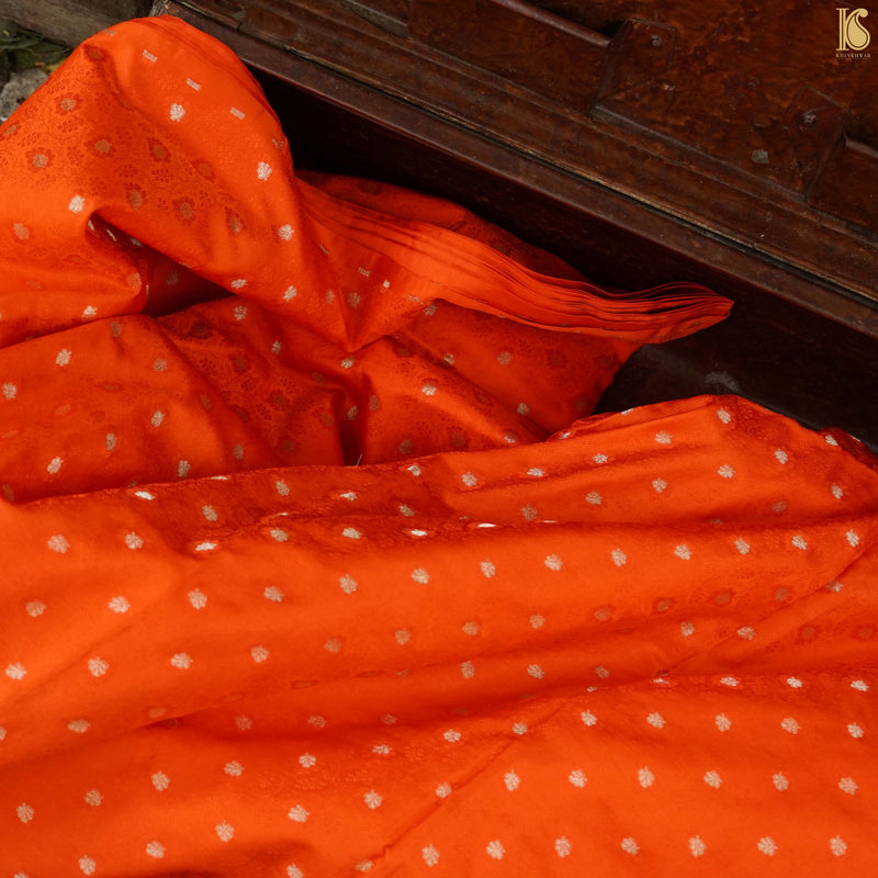 Orange Pure Banarasi Silk Handwoven Tanchui Kurta Fabric - Khinkhwab