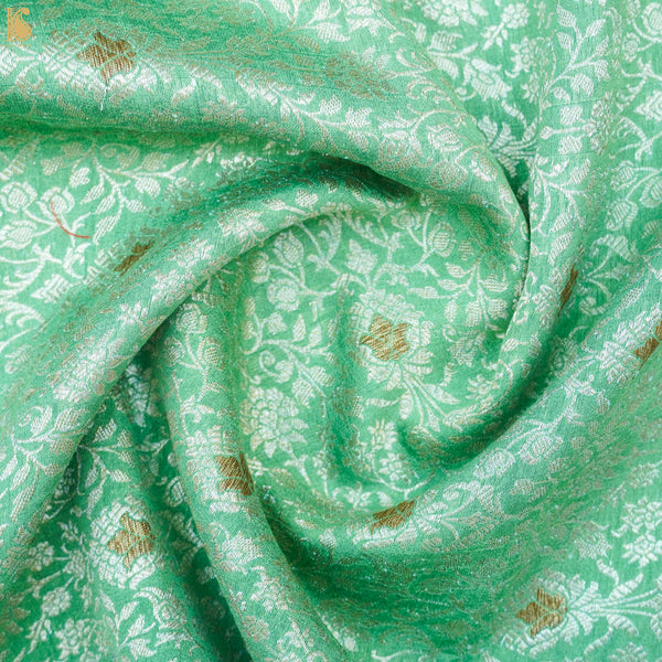 Silver Tree Green Pure Katan Silk Brocade Banarasi Fabric - Khinkhwab