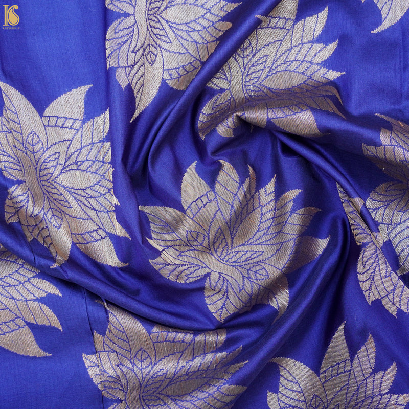 Jacksons Purple Handwoven Pure Katan Silk Banarasi Fabric - Khinkhwab