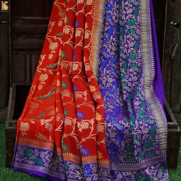 Red & Purple Pure Georgette Birds Banarasi Saree - Khinkhwab