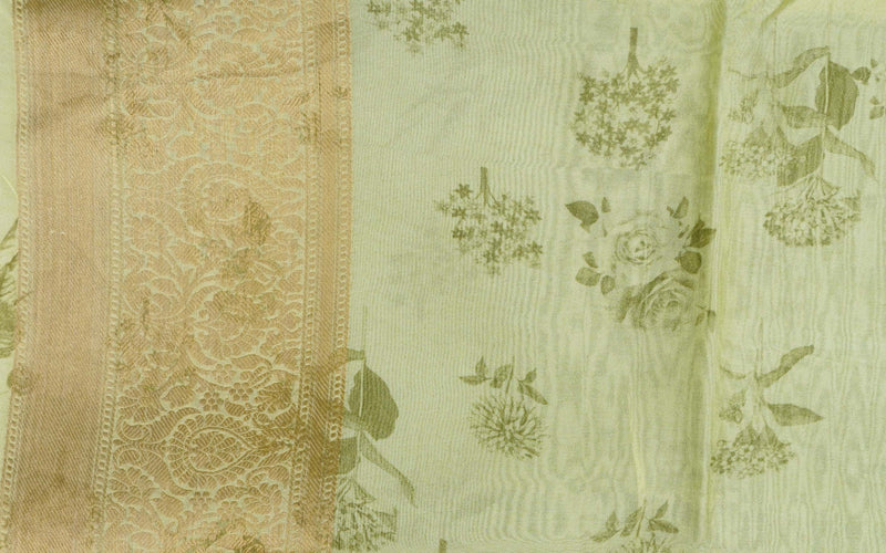 Yellow Organza Silk Print Banarasi Border Saree - Khinkhwab