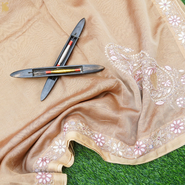 Handwoven Pure Georgette Organza Embroidery Saree
