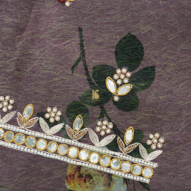Pure Organza Silk Print Blouse Fabric with Embroidery - Khinkhwab