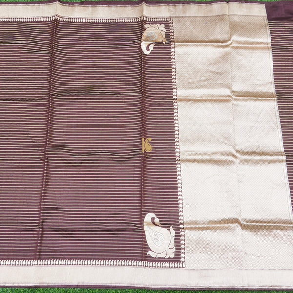 Congo Brown Pure Kora Silk Handloom Banarasi Soft Drape Saree - Khinkhwab