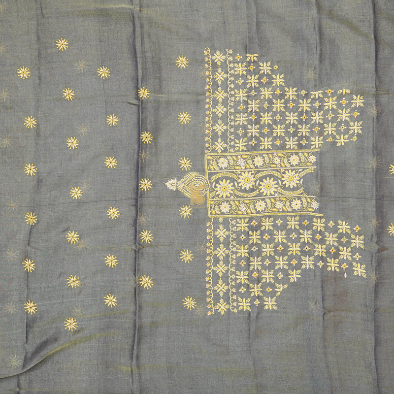 Grey Chikankari Pure Handloom Tissue Chanderi Silk Fabric Set - Khinkhwab