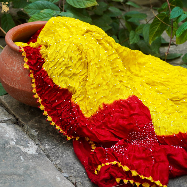 Yellow & Red Pure Gajji Silk Handwoven Bandhani Blouse Fabric - Khinkhwab