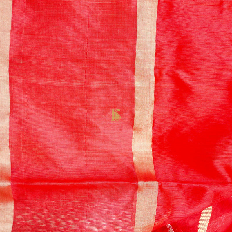 Red Pure Chanderi Silk Handwoven Leheriya Saree - Khinkhwab