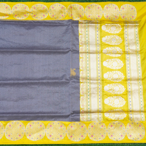 Grey & Yellow Pure Kora Handloom Banarasi Check Saree - Khinkhwab