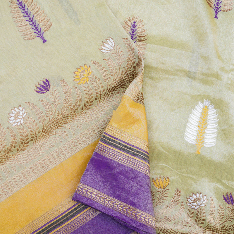 Gold & Purple Pure Tissue Silk Handwoven Banarasi Saree - Khinkhwab