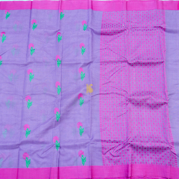 Handwoven Medium Purple Kota Silk Saree - Khinkhwab