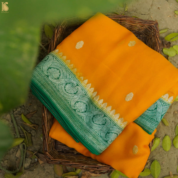Yellow & Green Pure Georgette Handloom Banarasi Saree - Khinkhwab