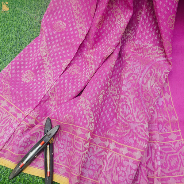 Pure Cotton Real Silver Zari Handloom Pink Banarasi Saree - Khinkhwab