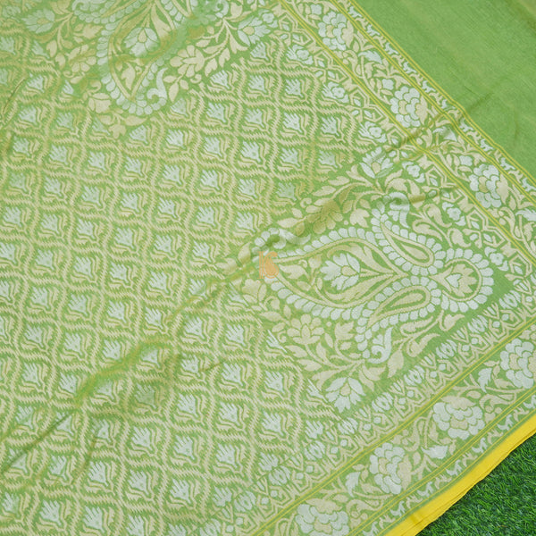Pure Cotton Real Silver Zari Handloom Green Banarasi Saree - Khinkhwab