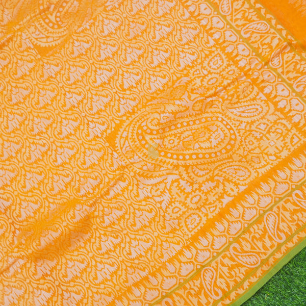 Pure Cotton Real Silver Zari Handloom Orange Banarasi Saree - Khinkhwab
