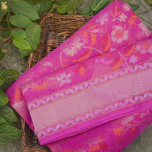Pure Cotton Real Silver Zari Handloom Banarasi Saree - Khinkhwab