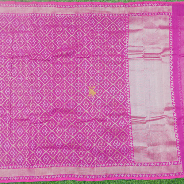 Pure Cotton Purple Real Silver Zari Handloom Banarasi Saree - Khinkhwab