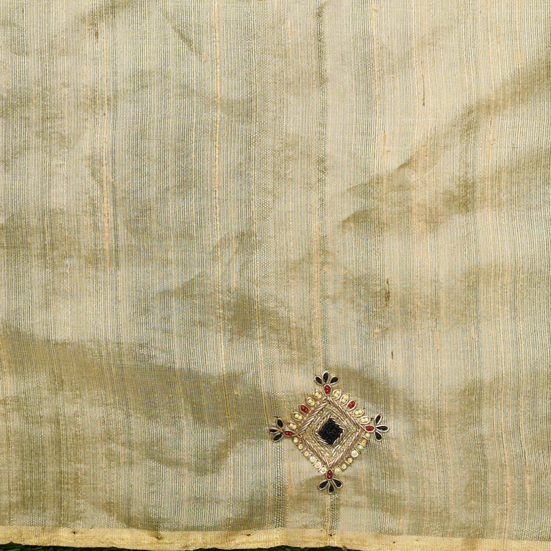 Hand Embroidered Pure Raw Silk by Tissue Sakhi Blouse Fabric - Khinkhwab