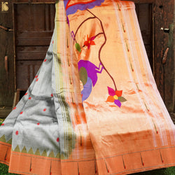 Grey Pure Silk Handwoven Paithani Saree with Muniya Border - Khinkhwab