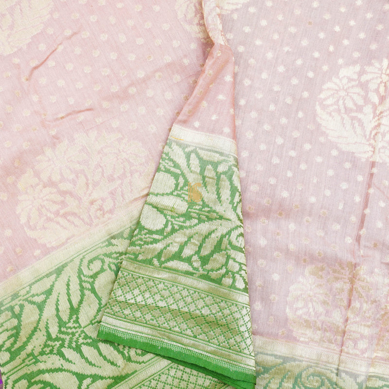 Pink & Green Pure Moonga Silk Handloom Banarasi Saree - Khinkhwab