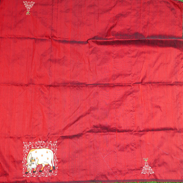 Hand Embroidered Pure Raw Silk Cow Blouse Fabric - Khinkhwab