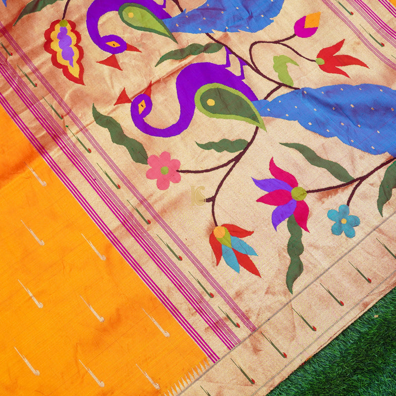 Orange Pure Silk Handwoven Paithani Saree with Muniya Border - Khinkhwab