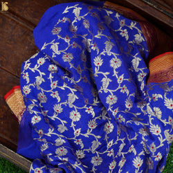Blue Pure Georgette Banarasi Fabric - Khinkhwab