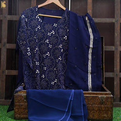 Blue Chikankari, Aari & Gotta Patti Viscose Georgette Fabric Set - Khinkhwab