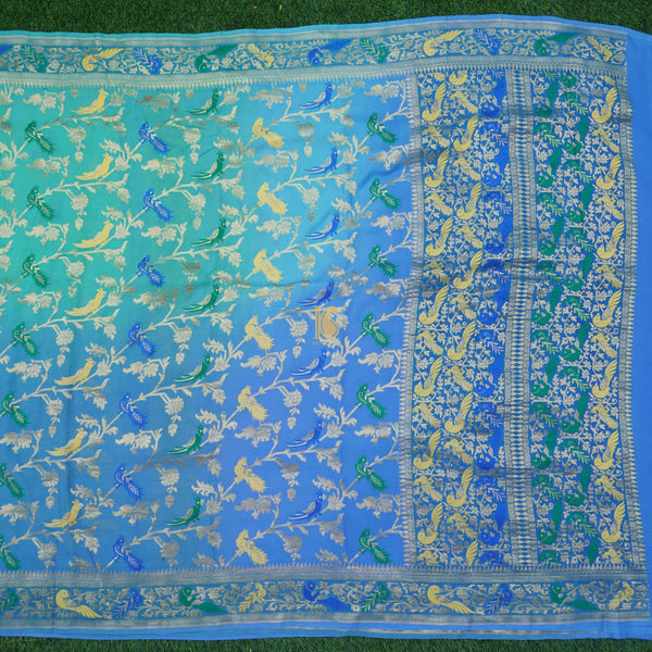 Blue Pure Georgette Birds Banarasi Saree - Khinkhwab