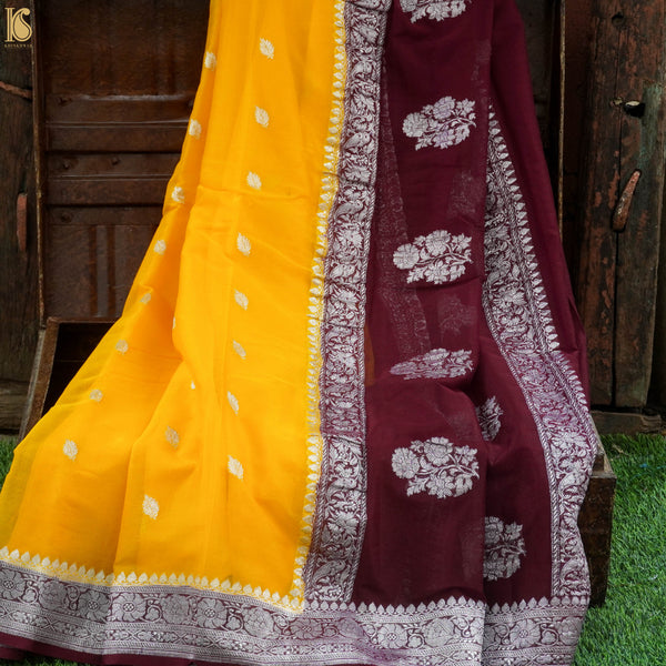 Yellow Pure Georgette Handloom Banarasi Saree - Khinkhwab