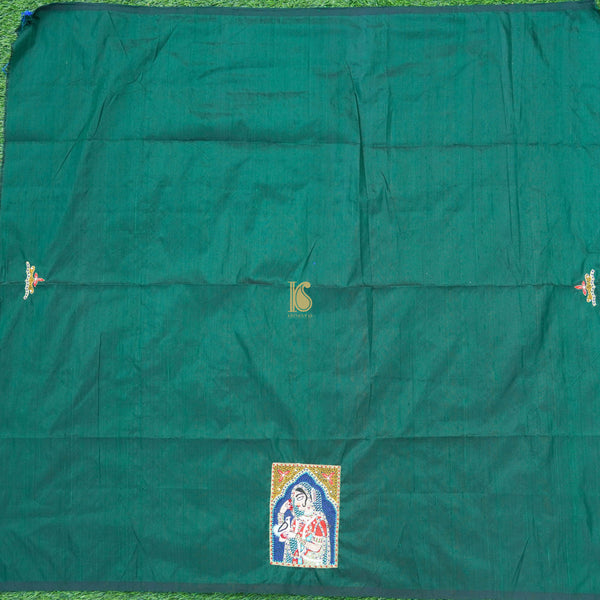 Green Hand Embroidered Pure Raw Silk Blouse Fabric - Khinkhwab