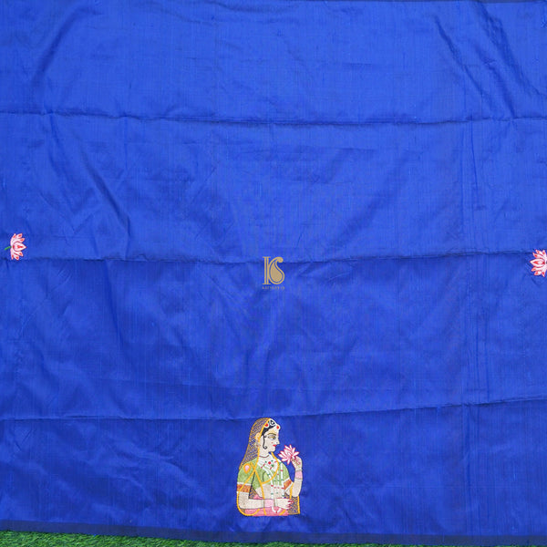 Blue Hand Embroidered Pure Raw Silk Blouse Fabric - Khinkhwab