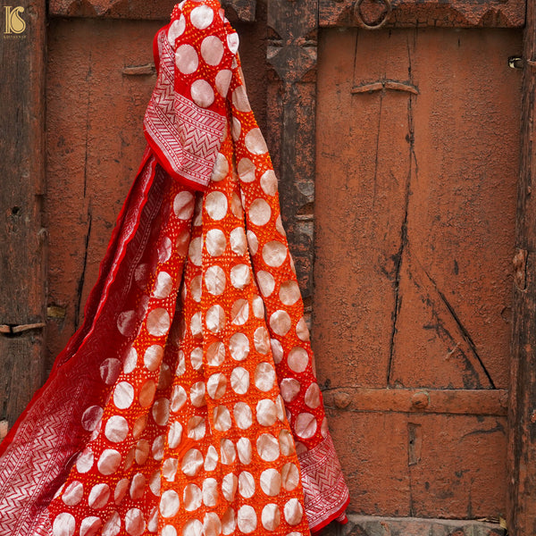 Read & Orange Georgette Handloom Banarasi Bandhani Circle Dupatta - Khinkhwab
