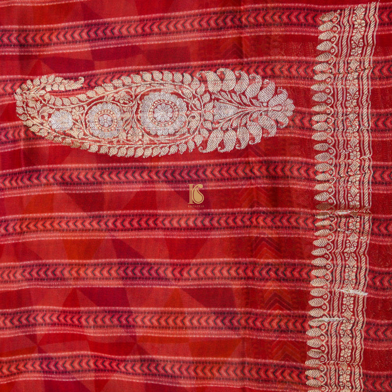 Multicolor Pure Georgette Print Handloom Saree - Khinkhwab