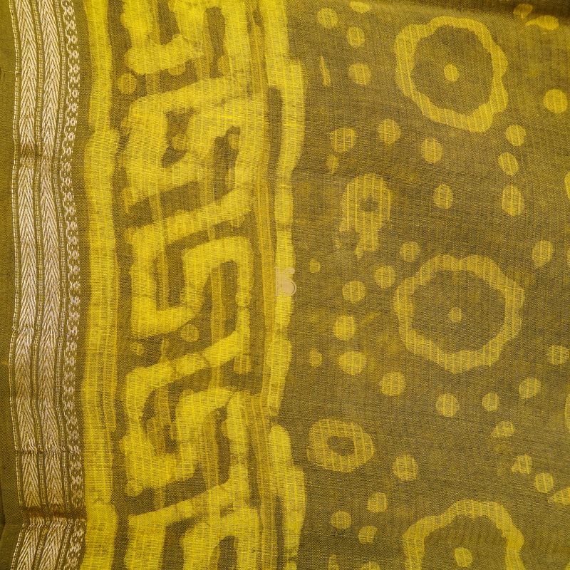 Barberry Yellow Pure Cotton Suti Dabu Print Saree - Khinkhwab