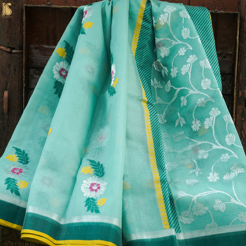 Handwoven Green Real Zari Kota Silk Saree - Khinkhwab