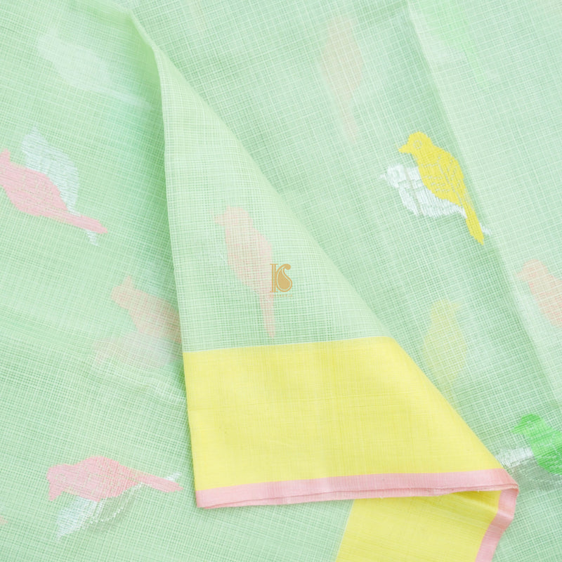 Handwoven Light Green Real Zari Kota Silk Saree - Khinkhwab