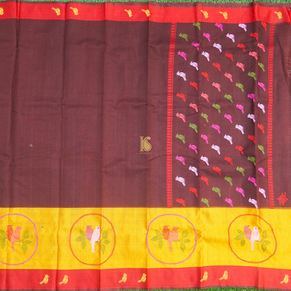 Handwoven Mehroon Real Zari Kota Silk Saree - Khinkhwab