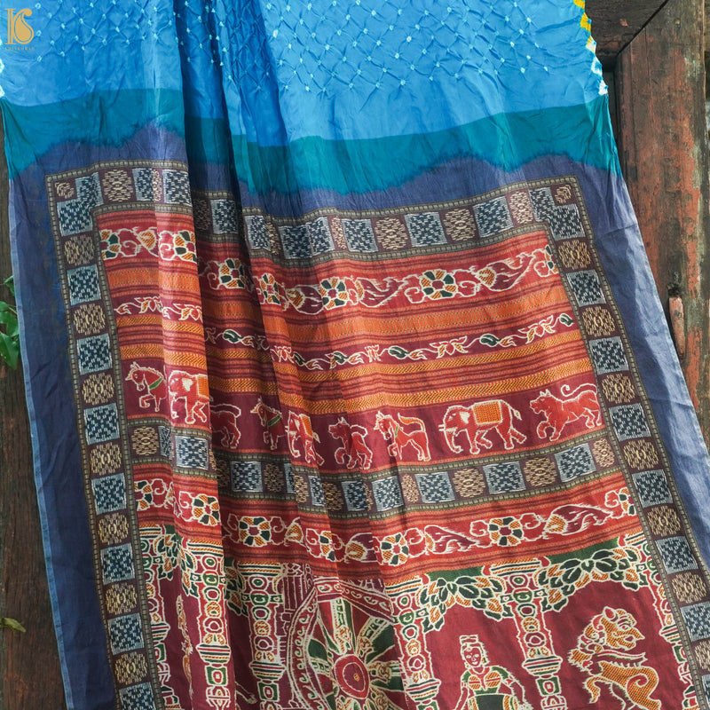 Blue Handwoven Bandhani Pure Habutai Silk Saree with Print - Khinkhwab