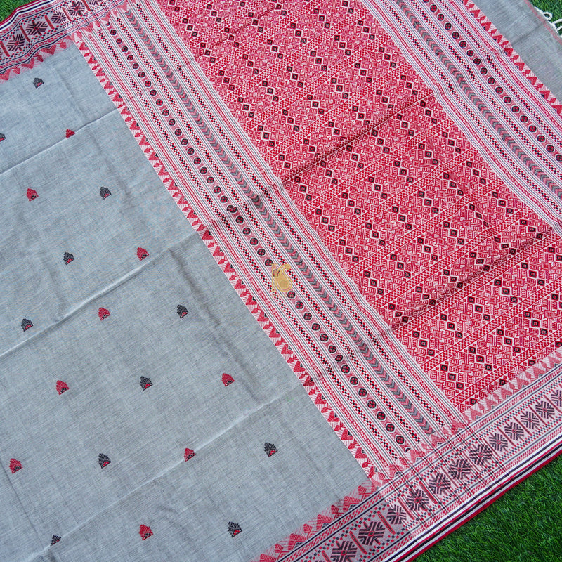 Spindle Grey Mercerized Cotton Handloom Assam Saree - Khinkhwab