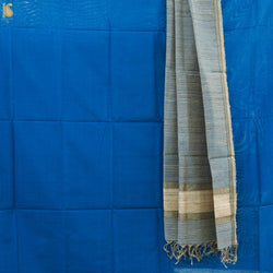 Handwoven Pure Cotton Silk Maheshwari Blue Suit Set - Khinkhwab