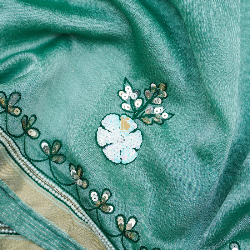 Neptune Green Pure Tissue Silk Pearl & Sequin Embroidery Saree - Khinkhwab