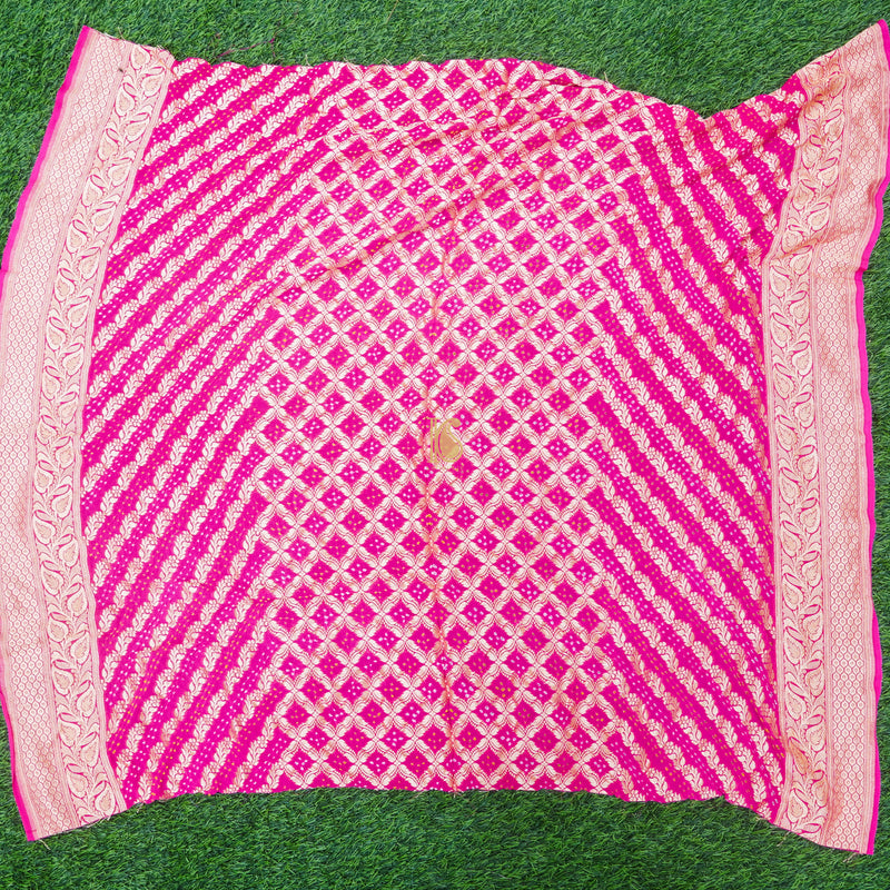 Violet Red Pure Georgette Bandhani Blouse Fabric - Khinkhwab