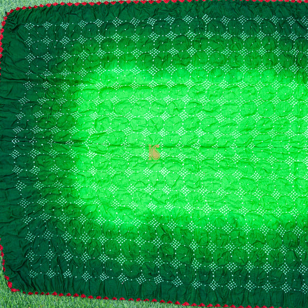 Green Pure Gajji Silk Handwoven Bandhani Blouse Fabric - Khinkhwab