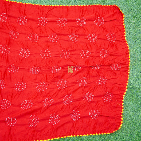 Red Pure Gajji Silk Handwoven Bandhani Blouse Fabric - Khinkhwab