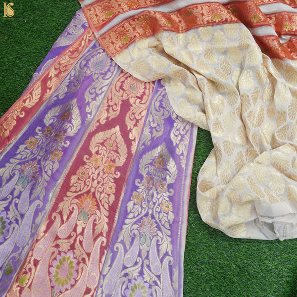 Handloom Pure Georgette by Tissue Pink & Purple Banarasi Lehenga - Khinkhwab