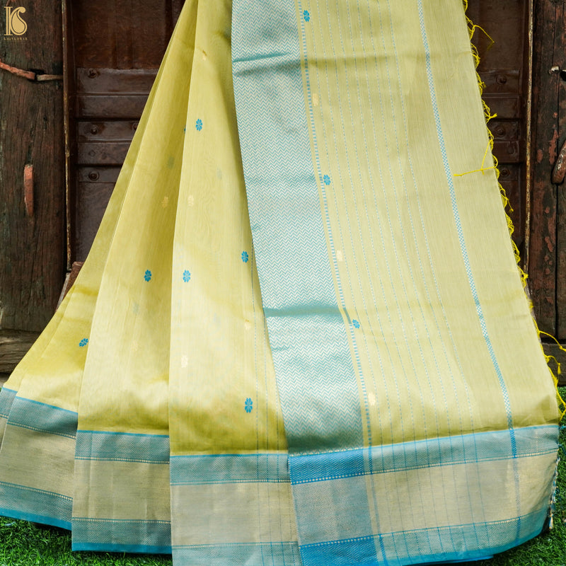 Handwoven Pure Cotton Silk Maheshwari Yellow Saree - Khinkhwab