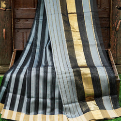 Handwoven Pure Cotton Silk Maheshwari Black Stripes Saree - Khinkhwab