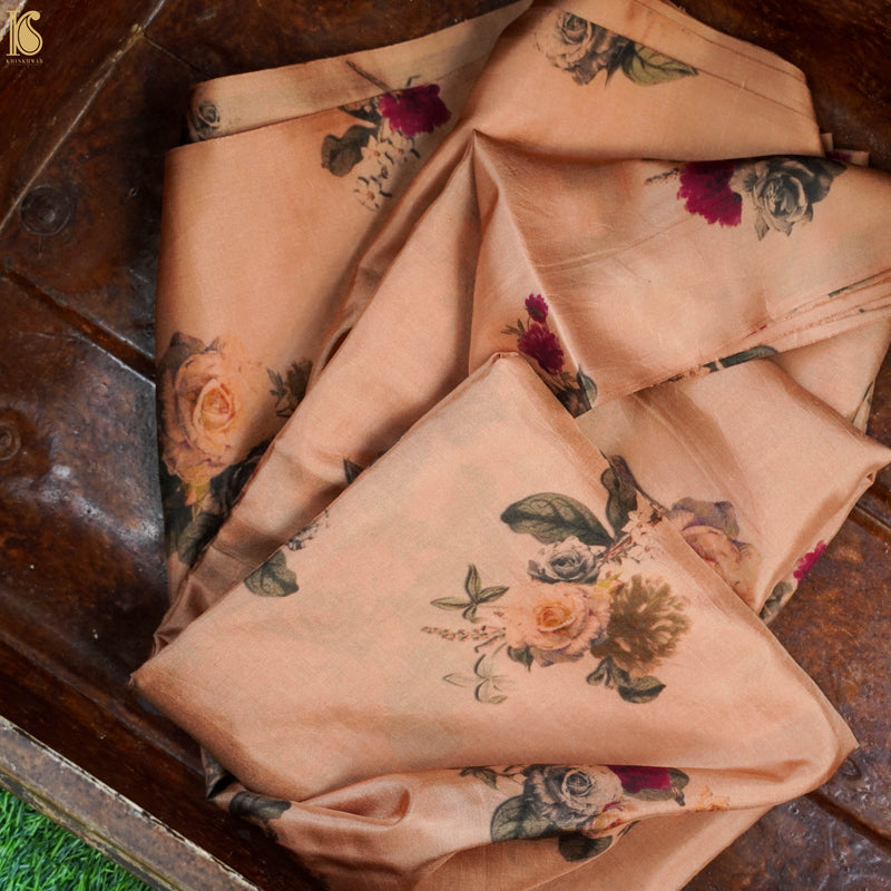 Golden Brown Pure Katan Silk Print Fabric - Khinkhwab