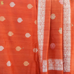 Orange Handwoven Pure Tussar Silk Banarasi Suit Set - Khinkhwab