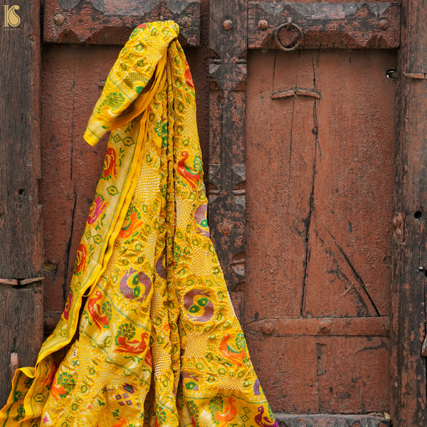 Pineapple Yellow Georgette Banarasi Bandhani Fish Dupatta - Khinkhwab